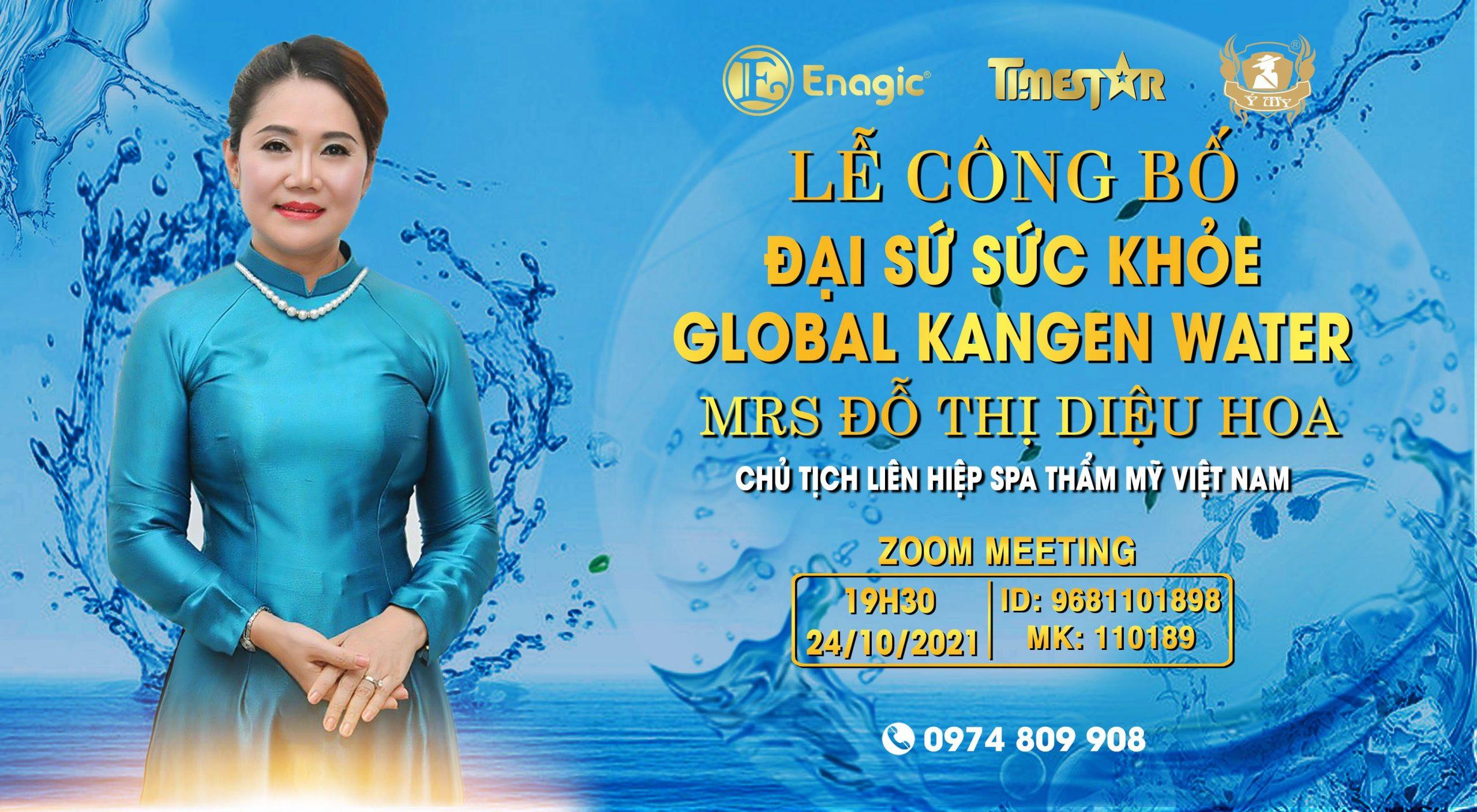 Lễ công bố đại sứ sức khỏe Global Kangen Water Mrs Đỗ Thị Diệu Hoa – Chủ Tịch LHSP thẩm mỹ Việt Nam
